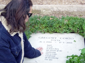Michael Limnios at Gregory Corso's grave