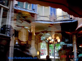 View of the courtyard from inside Cafè de la Pedrera, in Barcelona, Spain
