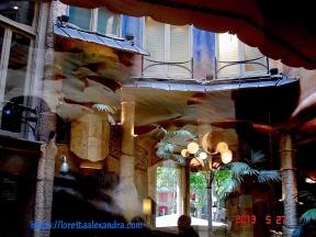 View of the courtyard from inside Cafè de la Pedrera, in Barcelona, Spain